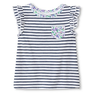 Baby Girls Striped Flutter Sleeve Tee White/Blue 12M - Cherokee®