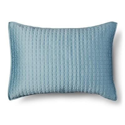 Tonal Stitch Sham Standard - Aqua - Fieldcrest™