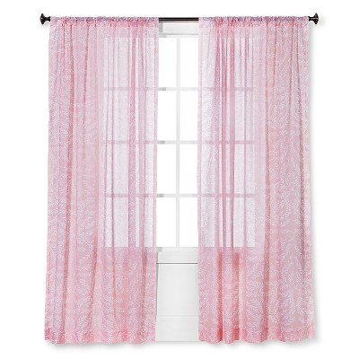 Floral Printed Sheer Curtain Panel Pink - Threshold™
