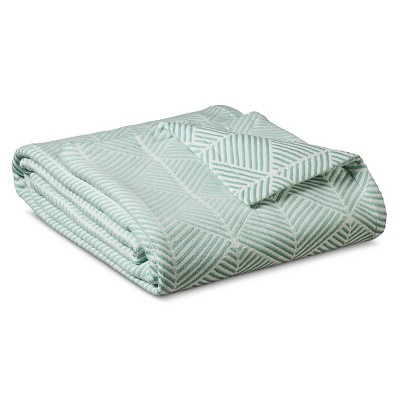 Threshold™ Fashion Woven Pattern Cotton Blanket - Natural White/Turquoise (Full/Queen)