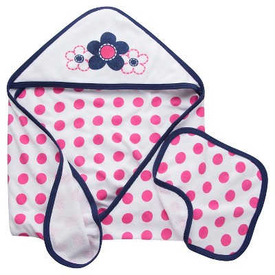 Gerber® Newborn Girls' Flower 2 Piece Bath Set, Towel & Washcloth - Pink