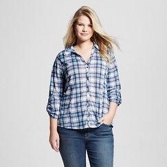 Women's Plus Size 3/4 Sleeve Button Down Plaid Shirt Chambray Plaid - Almost Famous (Juniors')