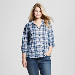 Women's Plus Size 3/4 Sleeve Button Down Plaid Shirt Chambray Plaid - Almost Famous (Juniors')