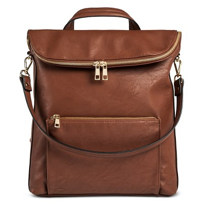 DV Women's Faux Leather Flap Top Backpack Handbag - Brown