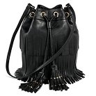 DV Women's Faux Leather dv Fringe Bucket Handbag