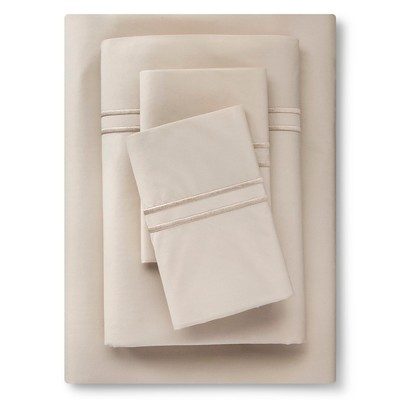 Supima Satin-Stitch Hotel Sheet Set 300 Thread Count (Queen) Sea Salt Tonal - Fieldcrest™