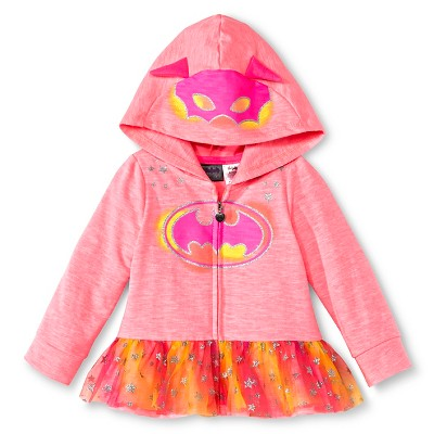Batgirl Toddler Girls'  Hooded Costume Sweatshirt - Pink 2T