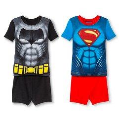 Toddler Boys' Batman vs Superman Short Sleeve 4-Piece Pajama Set Multi-Colored