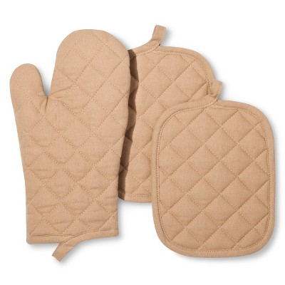 Room Essentials™ Oven Mitt and Pot Holder - Tan (3 Pack)