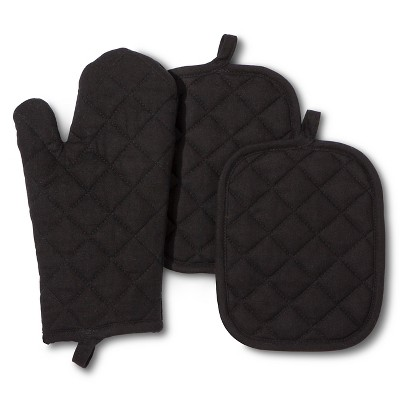 Room Essentials™ Oven Mitt and Pot Holder - Black (3 Pack)
