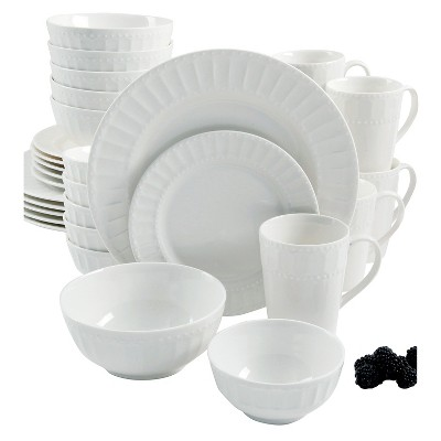 Gibson Select Guild Hall Embossed Dinnerware 30pc Set - White