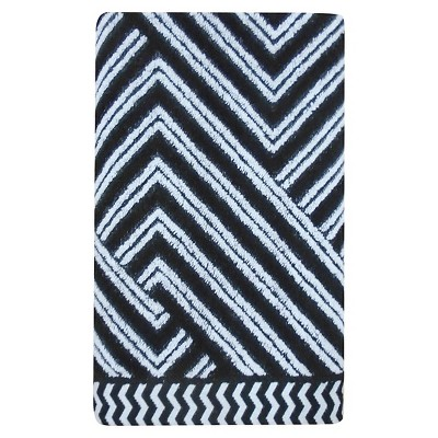 Sculpted Accent Bath Towel True White/Galaxy Black - Nate Berkus™