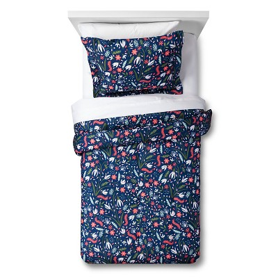 Floral Festival Comforter Set Full/Queen Navy 3pc - Pillowfort™