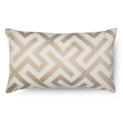 Embroidered Oblong Pillow - Cream - Fieldcrest Luxury™