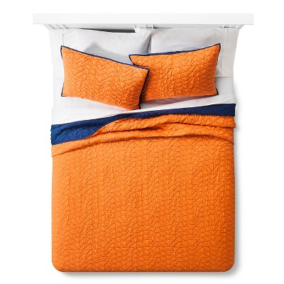 Triangle Stitch Quilt and Sham Set (Twin) Wild Orange 2pc - Pillowfort™