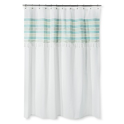 Threshold™ Shower Curtain - Green Stripe Fringe