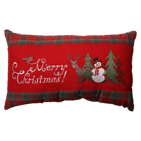 Christmas Decorative Pillows Target : Pillow Perfect Merry Christmas Plaid Rectangular... : Target