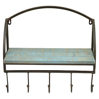 "Wood Wall Shelf with Metal Frame and 5 Hooks 17""x14"" - Turquoise"