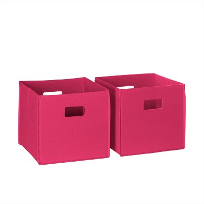 RiverRidge® Folding Storage 2 Pc Bin Set - Hot Pink (Cut-out Handle)