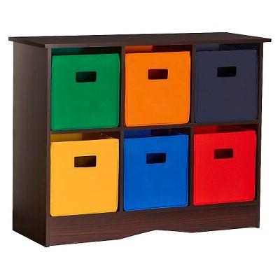 RiverRidge® 6 Bin Kids Storage Cabinet - Espresso/Primary