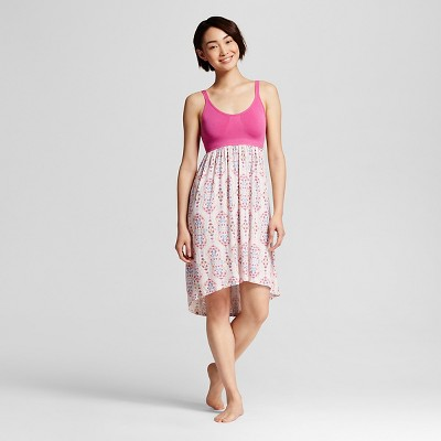 Women's Sleepwear Fluid Knit Tank Gown with Built in Support Pink Scroll M - Gilligan & O'Malley™