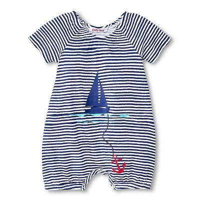 Baby Nay Port O' Call Stripe Romper - Blue 3M