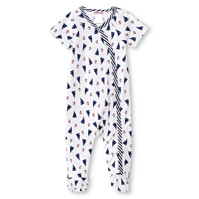 Baby Nay Port O' Call Short Sleeve Kimono Footed Sleeper - Blue 3M