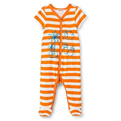 Baby Nay Stripe Short Sleeve Footed Sleeper - Orange 3M
