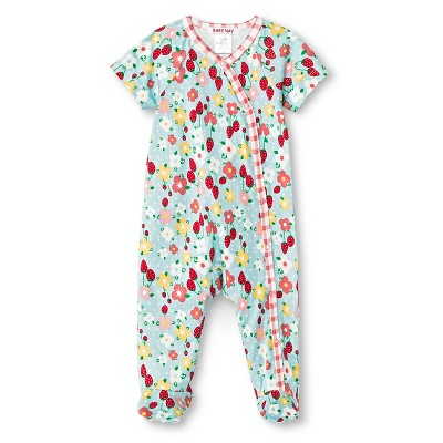 Baby Nay Strawberry Fields Short Sleeve Kimono Footed Sleeper - Green 3M