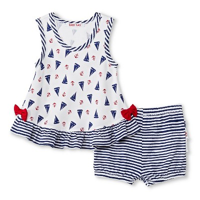 Baby Nay Port O' Call Ruffle Top & Bottom Set - Blue  6 M