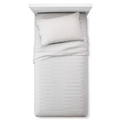 Sheet Set Easy Care Zig Zag Print Twin White - Room Essentials™
