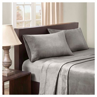 Velvet Luxe Plush Sheet Set - Grey (Queen)