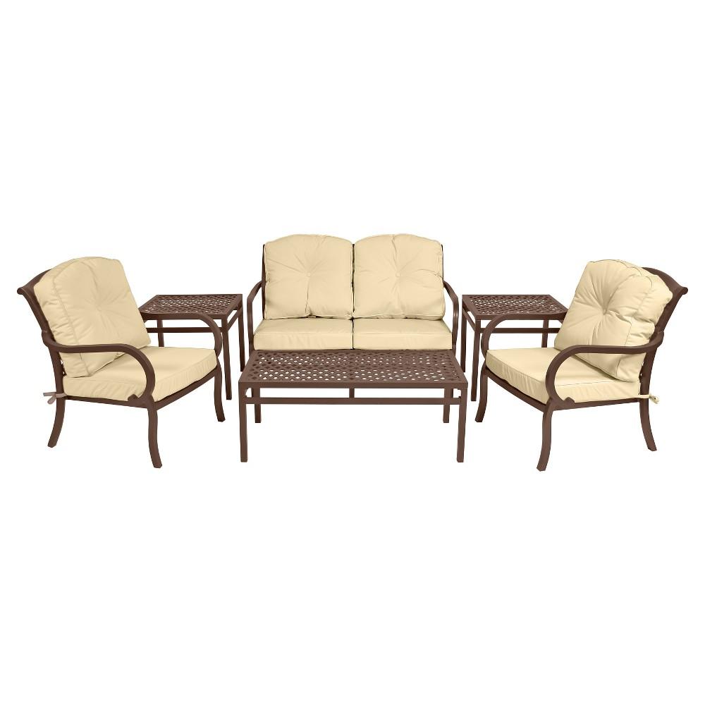 Patio seating set wellington 6 piece seating set for Outdoor furniture wellington