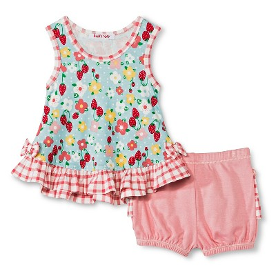 Baby Nay Strawberry Fields Ruffle Top & Bottom Set - Green 9 M