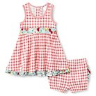 Baby Nay Strawberry Fields Flare Dress & Bloomer Set - Green