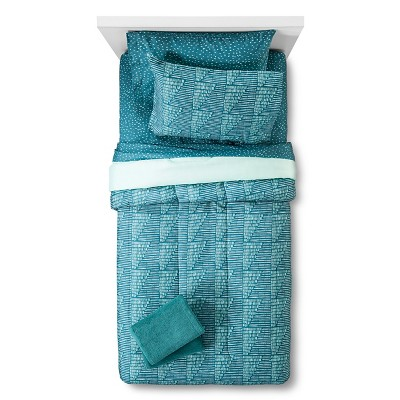Bedding Set with Towels Printed Lines Queen Teal - Room Essentials™