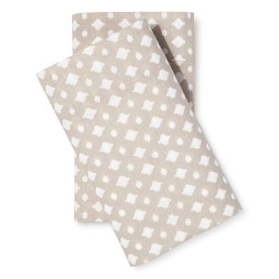 Pillowcase Set Easy Care Geo Print Standard Tan - Room Essentials™