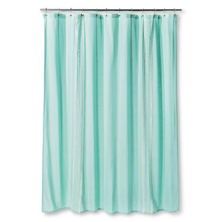 Threshold Shower Curtain Embroidered Stripe Aqua Target