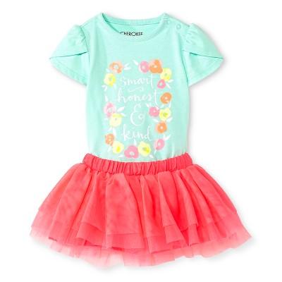 Cherokee® Baby Girls' Bodysuit & Tutu Skirt Set - Aqua/Pink NB
