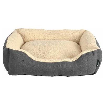 "Woolrich™ Medium Cuddler Pet Bed - Ebony, Radiant Gray (28"" x 23"" x 6.5"")"