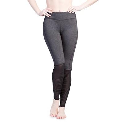 Women's Mesh Calf Leggings Black Heather L - Velvet Rose