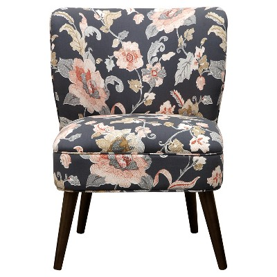 Lauren Curved Back Slipper Chair - Gray Floral