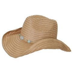 Women's Cowboy Hat with Beaded Detail - Turq Combo