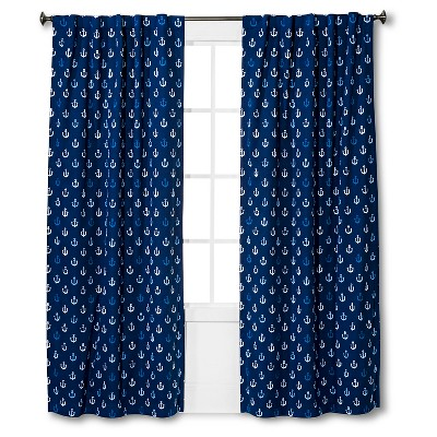 "Anchor Print Twill Light Blocking Curtain Panel Blue (84""x 42"") - Pillowfort™"