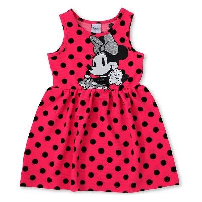 Minnie Mouse Baby Girls'  Polka Dots Sleeveless Dress - Pink 12M
