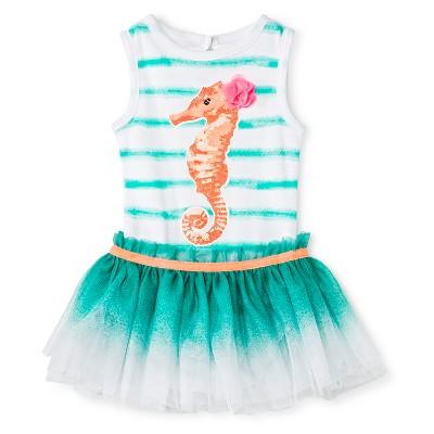 Baby Starters 2 Piece Seahorse Bodysuit & Tutu Skirt Set - White/Turquoise 3 M
