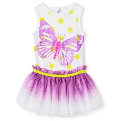 Baby Starters 2 Piece Butterfly Bodysuit & Tutu Skirt Set - White/Purple 9 M