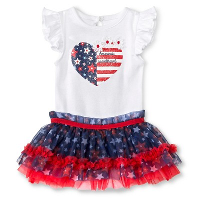 Baby Starters 2 Piece Sweetheart Bodysuit & Tutu Skirt Set - Red/White/Blue 3 M