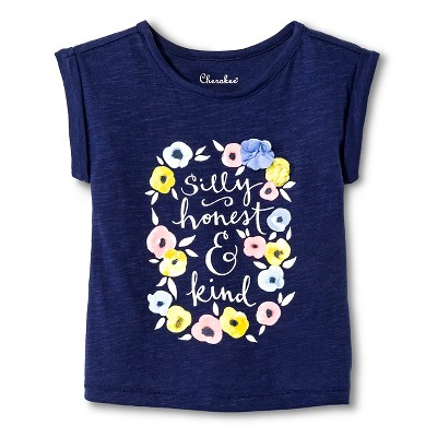 Toddler Girls' Silly Honest Kind Graphic Tee Blue 4T - Cherokee®