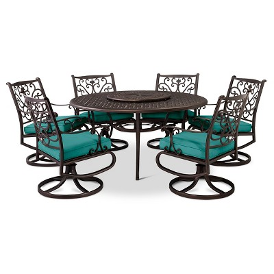 Folwell 7pc Cast Aluminum Dining Set-Turquoise - Threshold™